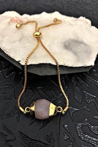 Dr. Stone Dr Stone Golden Pembe Kuvars Taşı 22k Altın Kaplama El Yapımı Kadın Bileklik Tkrb20