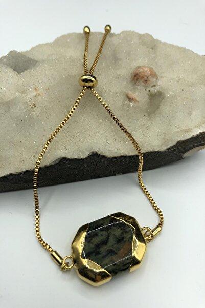 Dr. Stone Dr Stone Golden Serpantin- Yılan Taşı 22k Altın Kaplama El Yapımı Kadın Bileklik Tkrb12