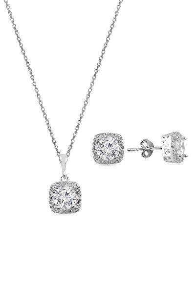 Söğütlü Silver Gümüş Zirkon Taşlı Kare Pırlanta Montürlü Gümüş Ikili Set