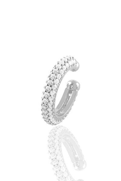 Söğütlü Silver Gümüş Rodyumlu Zirkon Taşlı Kıkırdak Küpe