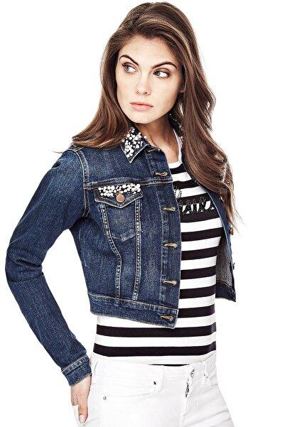 Guess Collection Kadın Lacivert Denim Ceket W81N01D34B1