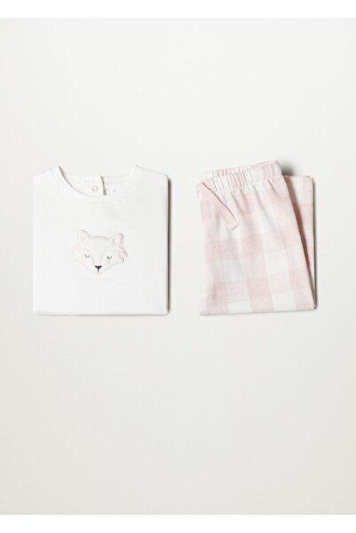 MANGO Baby Açık Pembe Kız Bebek Organik pamuklu desenli uzun pijama takımı