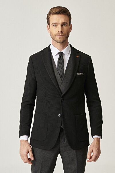 ALTINYILDIZ CLASSICS Erkek Siyah-Gri Slim Fit Kombinli Yelekli Desenli Takım Elbise