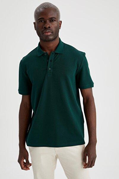 DeFacto Regular Fit Polo Yaka Basic Kısa Kollu Yeşil Tişört