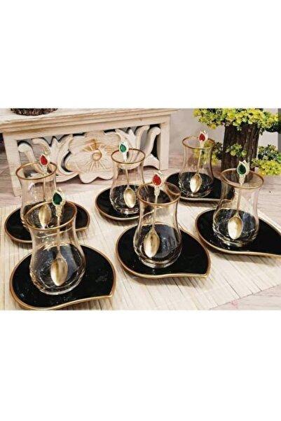 EVRA Yeni Model Siyah Altın Tabaklı 12 Parça Çay Bardağı Çay Tabağı Çay Takımı Seti
