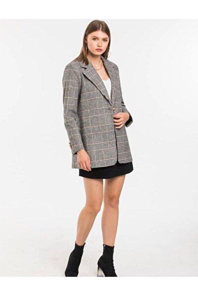 JADE Kadın Ekose Blazer Ceket 02