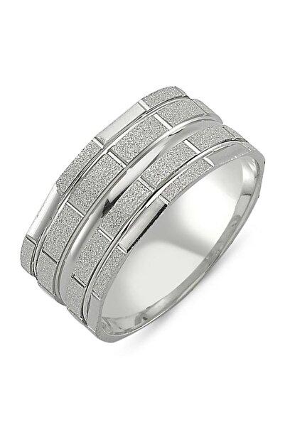 Takı Dükkanı Mat Parlak Gümüş Alyans Söz Nişan Yüzüğü Wr68-1