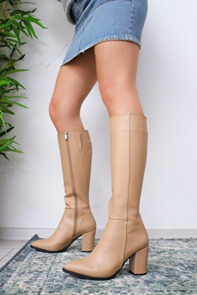 Limoya Tatum Nud Sivri Burunlu Orta Topuklu Çizme