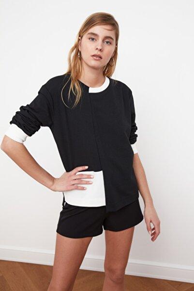 TRENDYOLMİLLA Siyah Renk Bloklu Örme Sweatshirt TWOSS21SW0075