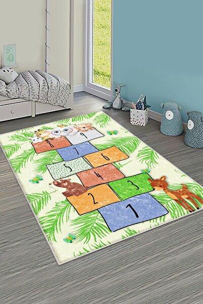 HOMESSA Yeşil Seksek Desenli Çocuk Odası Oyun Halısı Hçi85