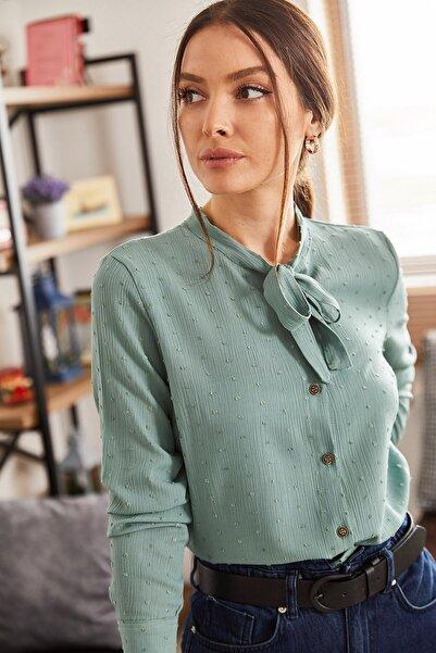 armonika Kadın Turkuaz Yakası Bağlamalı Desenli Gömlek ARM-20K001150