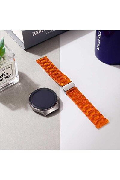 Nezih Case Kordon/kayış Samsung Galaxy Watch Active 2 44mm Uyumlu Sert Plastik Baklalı Tasarım Turuncu