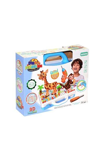 Muhcu Toys Erkek Çocuk 198 Parça 3d Puzzle Ile Renkli Matkaplı Creative Oyun Seti