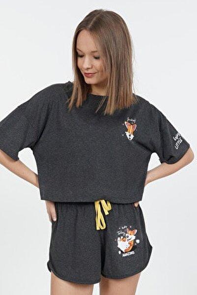 Düşük Omuzlu Kısa Kol Şortlu Pijama Takım