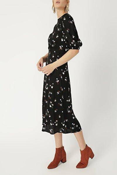 RANDOM Kadın Beli Büzgülü Midi Boy Elbise %60 Vıscon %40 Polyester