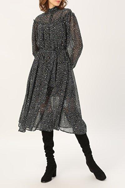 RANDOM Kadın Hakim Yaka Fırfır Detaylı Desenli Elbise %100 Polyester