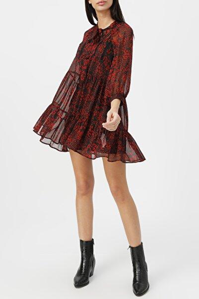 RANDOM Kadın Boyundan Bağlamalı Dantel Detaylı Desenli Elbise %100 Polyester