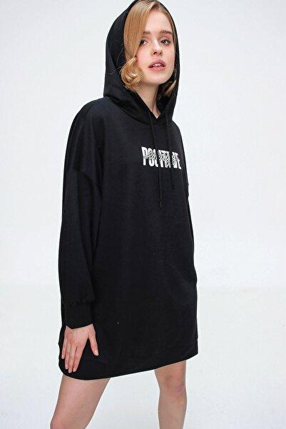Bigdart Kadın Siyah Baskılı Oversize Sweat Elbise 55315