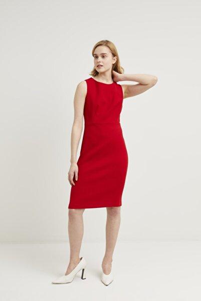 adL Kadın Kirmizi Sıfır Kollu Elbise