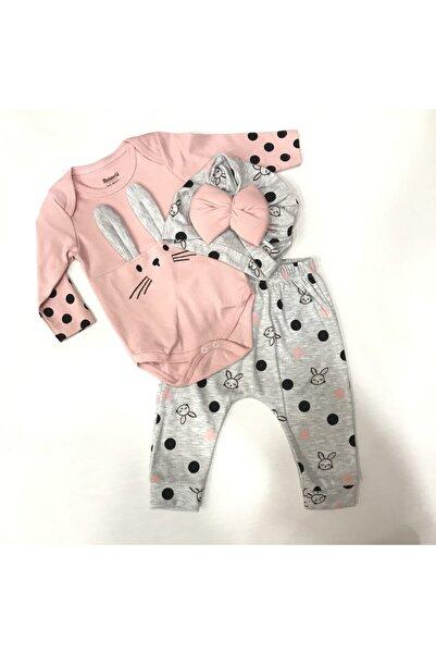 Miniworld Kız Bebek Pembe Tavşan Baskılı  3'lü Takım
