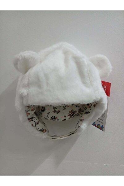 Bebepan Kız Bebek Ekru Peluş Şapka
