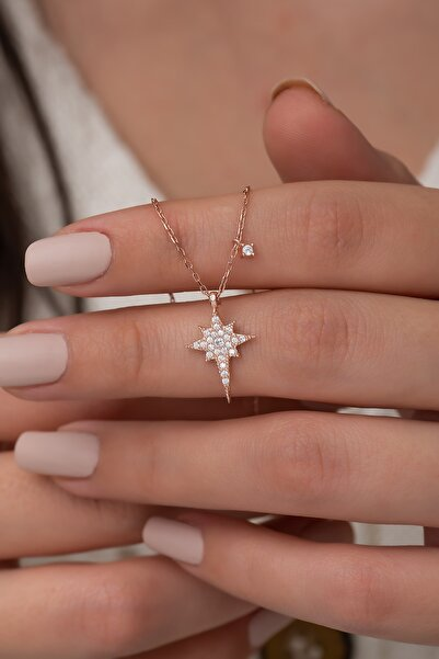 Nereze 925 Ayar Minik Kutup Yıldızı Kolye Kadın Gümüş Kolye