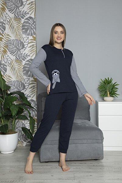 FAWN Kadın Uzun Kollu Nakışlı Düğmeli Kollar Çizgili Pijama Takımı Lacivert Homewear Ev Kıyafeti 1639l