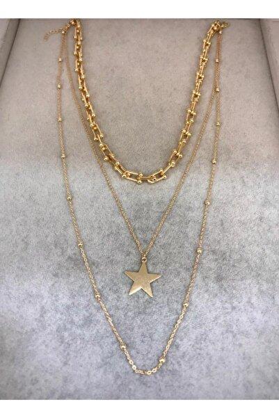Chance Accessories Üçlü Yıldız Detaylı Tiffany Kolye
