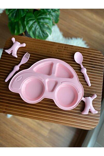 Bayev Çocuk Yemek Seti - Mama Tabağı Çatal Kaşık Takımı Pembe
