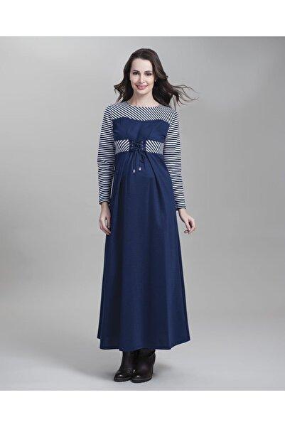 Even Fashion Hamile Giyim Bağcık Detaylı Uzun Hamile Elbise