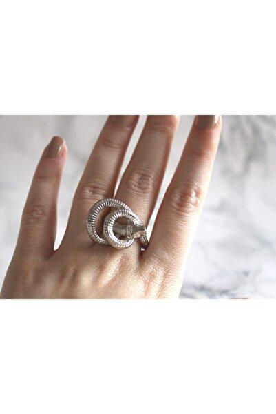 Caesar Kadın  Gümüş Renk Kararmaz Yılan Figürlü Yüzük Tasarım