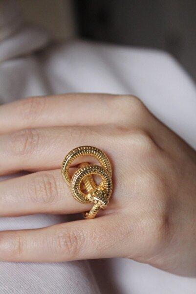 Caesar Kararmaz Yılan Figürlü Altın Kaplama Tasarım Yüzük