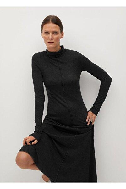 MANGO Woman Kadın Koyu Eflatun Rengi Elbise
