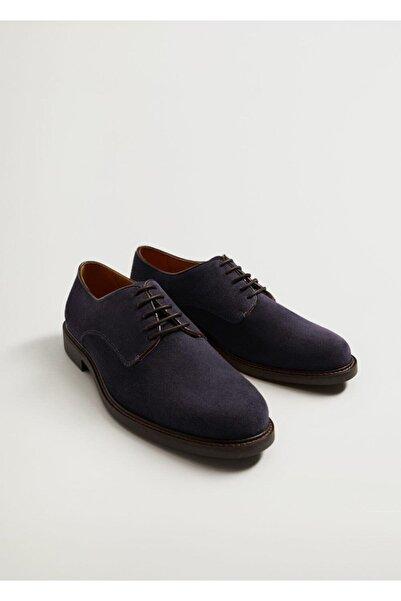 MANGO Man Erkek Mavi Süet Blucher Ayakkabı