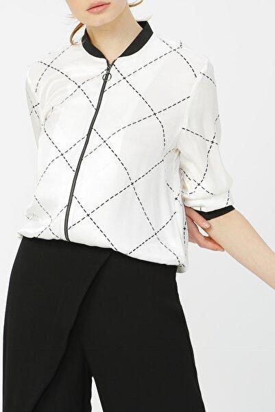 RANDOM Kadın Fermuar Detaylı Ceket %60 Vıscon %40 Polyester