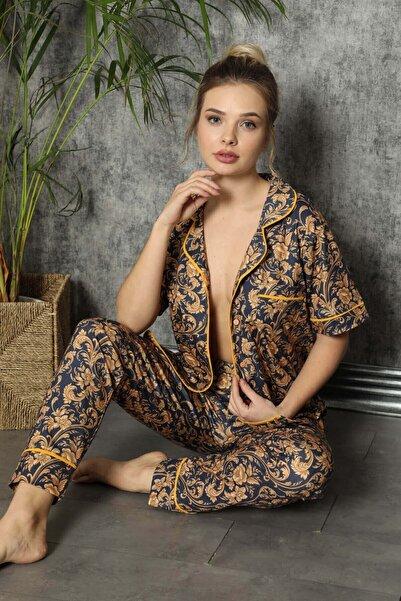 Mossta Çiçekli Düğmeli Kısa Kol Pijama Takımı