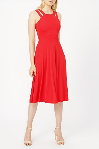 RANDOM Çift Askılı Midi Elbise %100 Polyester