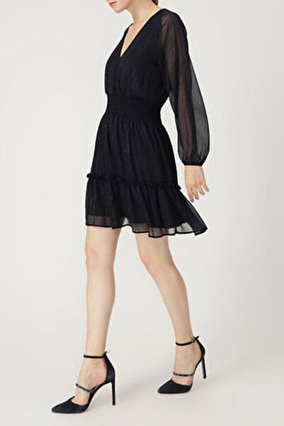 Kadın Eteği Volanlı V Yaka Uzun Kollu Lacivert Elbise %100 Polyester