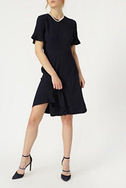 Kadın Kolu Volan Detaylı Lacivert Elbise %98 Polyester %2 Elastane