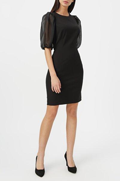 RANDOM Kadın Balon Kol Yuvarlak Yaka Elbise %85 Polyester %15 Elastane