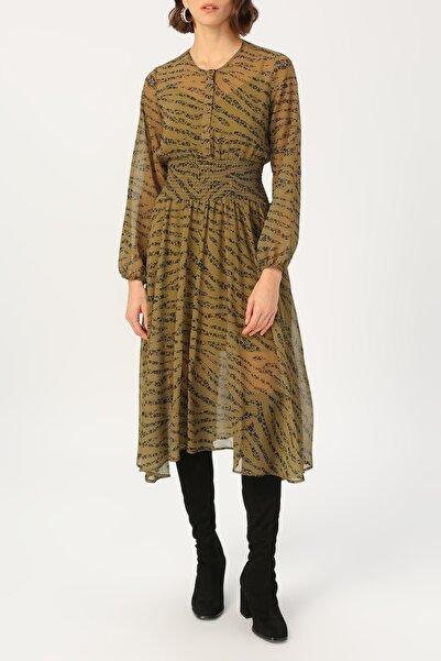 RANDOM Kadın Beli Gipeli Yeşil Desenli Elbise %100 Polyester