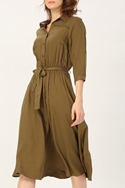Kadın Beli Lastikli Truvakar Kol Gömlek Elbise %100 Vıscon