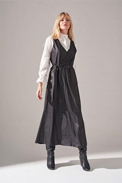 Mizalle Suni Deri Jile Elbise (Siyah)