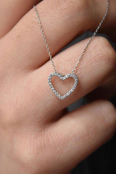 Papatya Silver Kadın 925 Ayar Gümüş Rodyum Kaplama Montür Kalp Kolye