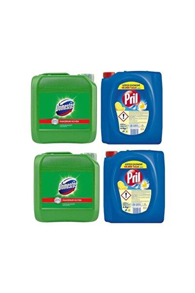 Pril Sıvı Bulaşık Deterjanı 2 'li Güç Limon 4kg  ve Domestos Çamaşır Suyu Dağ Esintisi 2'li 3.5 kg