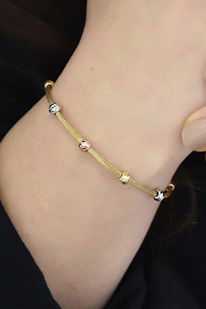Papatya Silver 925 Ayar Gümüş Gold Kaplama Hasır Zincir Dorika Bileklik