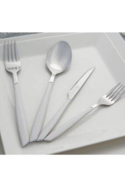 ACAR 24 Parça Akrilik Saplı Çatal Kaşık Bıçak Seti Beyaz Beyaz