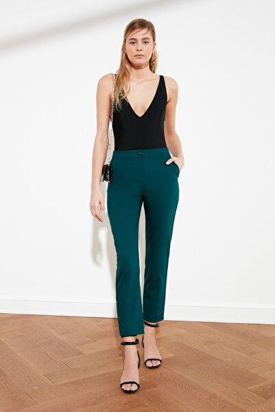 TRENDYOLMİLLA Zümrüt Yeşili Yüksek Bel Cigarette Pantolon TWOSS21PL0067