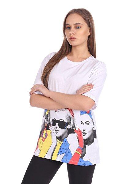 BARRELS AND OIL Kadın Beyaz Basic Kız Baskılı T-Shirt 447-20Y13015.55