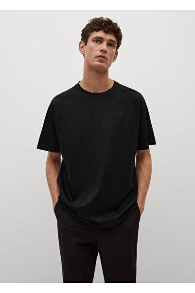 MANGO Man Erkek Siyah Relaxed Kesim Merserize Tişört
